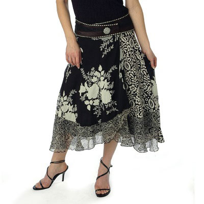 Black/White Wrap Skirt